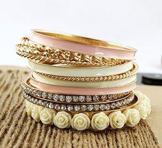 11 piezas de joyería Flores Rhinestone del encanto de la pulsera de múltiples…