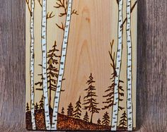Birch Trees Woodland Nature Original Woodburning di MadeByDeby