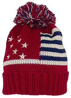 1a9090c1211 Best Seller Best Winter Hats Adult American Americana Flag Cuffed Knit  Beanie W Pom Pom (One Size) online
