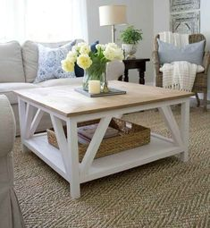 How to build a DIY Modern Farmhouse Coffee Table, Classic square coffee table with painted base and rustic stained table top, complete with bottom shelf for storage. Perfect for living rooms with sectionals! Furniture, Farm House Living Room, Modern Farmhouse Coffee Table, Home, Home Furniture, Coffee Table Farmhouse, Farmhouse Table Plans, Modern Farmhouse Diy, Stained Table