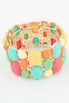 Multicolor Rhinestone Bracelet OASAP.com