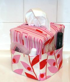 """Sew Easy Tissue Caddy pdf Sewing Pattern by flowergirldesign Could make & sell these as """"Get well gifts"""" Tissue Box Covers, Tissue Boxes, Sewing Hacks, Sewing Tutorials, Sewing Tips, Sewing Ideas, Fabric Crafts, Sewing Crafts, Kleenex Box"""