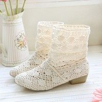Wish | Female Summer Breathable Bootie with The New Shoes, Lace Openwork Crochet Boots, Size 35-39, Hollow Fashion Women Boots