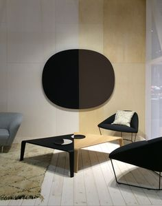 Milano Milan Fair I Parentesit wall panel + Ply tables + Colina lounge chair, all by lievore altherr molina