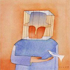 "Paneel ""Oui La Libertè"" von Folon, Kunstdruck East Urban Home Kamakura, Painting Prints, Art Prints, Art Paintings, Wassily Kandinsky Paintings, Canvas Art, Canvas Prints, Leonid Afremov Paintings, Illustrations"
