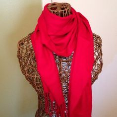 Red fringed scarf Pretty red scarf new never worn no tags Jackets & Coats