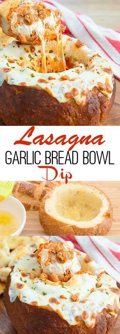 Lasagna Garlic Bread Bowl Dip. Delicious and fun appetizer for a party!