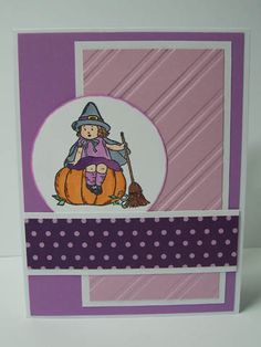 Stampin Up Greeting Card Kids Handmade Greeting Card: Happy Halloween Card, Pumpkin, Witch, Purple Happy Halloween, Purple Halloween, Halloween Cards, Holiday Cards, Christmas Cards, Kids Stamps, Sorry Cards, Wedding Anniversary Cards, Stamping Up Cards