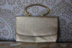 Vintage 1950's Gold Clutch Purse with Carved Gold Tone Handle by pursuingandie, $22.50