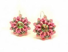 """Earrings Tutorial with Rulla,Superduo and Swarovski """"Pink Delight"""""""