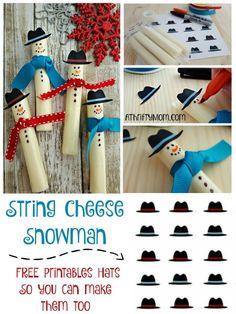 Free printable snowman hat,Healthy treats for school Christmas parties, easy christmas snacks for kids Cheesestick Snowman Hat Printable, STRING CHEESE SNOWMEN