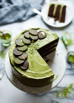 Chocolate Zucchini Layer Cake with Matcha Cream Cheese Frosting {gluten-free}