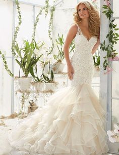 Lace tiered Wedding Gowns at Bling Brides Bouquet online Bridal Store #BlingBridesBouquet