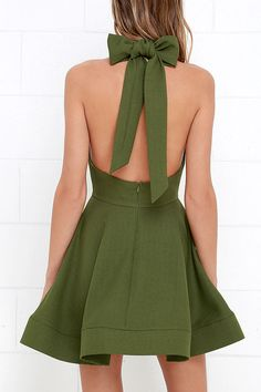 Bow is Me Green Halter Dress at Lulus.com!
