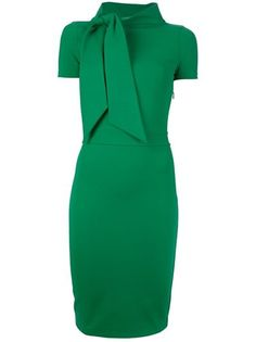Green wool blend asymmetric dress from Dsquared2 featuring a funnel neck with tie scarf detailing, short sleeves and a side zip.: