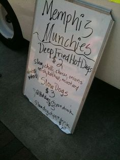 Our menu board at the 2nd Annual Memphis Food Truck Fare