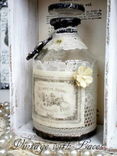 French Inspired Vintage Style Altered / Soldered Bottle