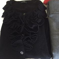 J. CREW Black cardigan sweater with ruffle front Beautiful lightweight cardigan by J.Crew J. Crew Sweaters
