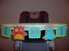 MONSTER birthday banner, I AM 1 banner, photography prop, BOY birthday. first birthday. Monster Birthday decorations,high chair banner via Etsy