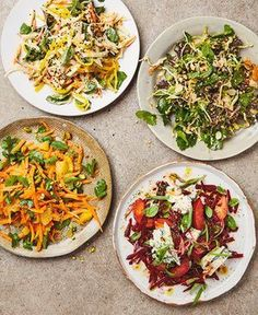 Yotam Ottolenghi's beautiful salads (clockwise from top left): root vegetables with mango and curried yoghurt; hispi cabbage and kalette slaw; beetroot, plum and Dolcelatte salad; Moroccan carrot salad with orange and pistachio - The Guardian Yotam Ottolenghi, Ottolenghi Recipes, Raw Food Recipes, Vegetarian Recipes, Cooking Recipes, Healthy Recipes, Slaw Recipes, Papaya Salat, Moroccan Carrots