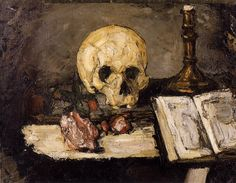 Skull Paintings by Artists   Paul Cezanne painting of a skull and book-late 19th century.