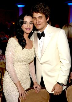Katy Perry and John Mayer beaming at a pre-Grammys bash