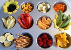 Muffin tin mania... offer healthy choices for toddlers to choose from during snack time!