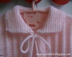Magia do Crochet: Casaco rosa em tricot para menina - com pompons