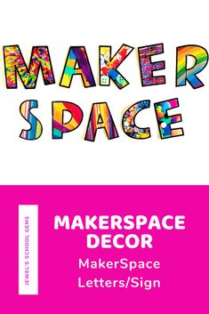 This fun MakerSpace Decor set comes with individual letters that can be used to make a MakerSpace sign. This resource includes three sets of letters that spell MAKERSPACE: a set with picture backgrounds, a set in color, and a set in black and white. Use this to decorate bulletin boards in your MakerSpace, STEM Lab, or School Libraries. Click to learn more! #makerspace