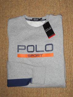 RALPH  LAUREN  POLO  SPORT  MENS  CREW NECK  SWEATSHIRT   LARGE   NEW  GRAY #PoloSport #SweatshirtCrew