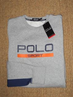 RALPH  LAUREN  POLO  SPORT  MENS  CREW NECK  SWEATSHIRT   LARGE   NEW  GRAY #PoloSport #SweatshirtCrew