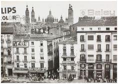 Fotos antiguas de Zaragoza -Rafael Castillejo-Zaragoza Plaza, Paris Skyline, Taj Mahal, Madrid, Louvre, Street View, Europe, Country, Building