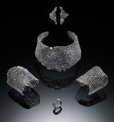 "Jewellery Set | Satoko Nobe. ""We see hope"". Oxidized sterling silver, Diamond.  2011"