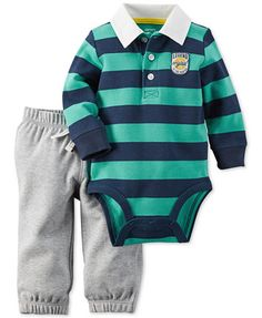 Carter's Baby Boys' 2-Pc. Striped Rugby Bodysuit & Pants Set | macys.com