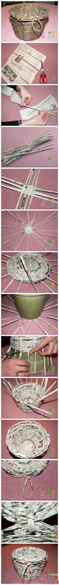 Tecnica de cesteria, con papel de diario. Cesto con tapa o canasta con una manija. Base radial para hacer un circulo (se empieza con 4 pares de varillas). Al final se puede pintar con barniz marron, acrilico o pintura en aerosol.