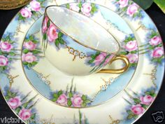 Vintage German Weimar hand-painted china tea trio with roses.