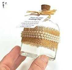 Burlap and Imitation Pearl Rainy Day Wedding Keepsake Bottle - Wedding table decor (*Amazon Partner-Link)