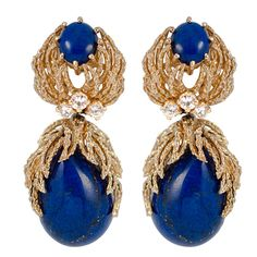 Tiffany & Co. Lapis Diamond Earpendants   From a unique collection of vintage drop earrings at http://www.1stdibs.com/jewelry/earrings/drop-earrings/