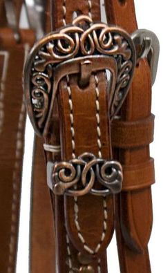 Up close picture of the celtic knot bridle.