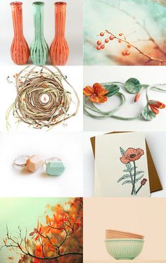 Orange and mint green make an unusual but stunning colour combination
