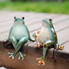 Happy Frog Ceramic Statue