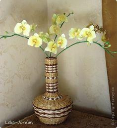 Поделка изделие Лепка Плетение И снова орхидеи но в компании  Трубочки бумажные Фарфор холодный фото 1