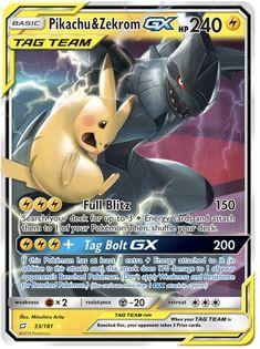 Pikachu & Zekrom GX - SM - Team Up, Pokemon - Online Gaming Store for Cards, Miniatures, Singles, Packs & Booster Boxes Cool Pokemon Cards, Rare Pokemon Cards, Pokemon Gifts, Pokemon Trading Card, Pokemon Fusion, Pokemon Breeds, Trading Cards, Pikachu Pikachu, Monsters
