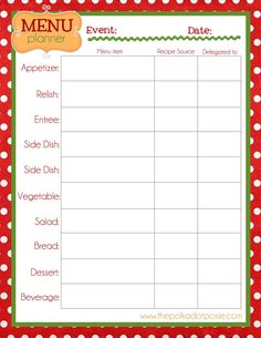 Christmas Menu Planner Free Printable  Days To An Organized