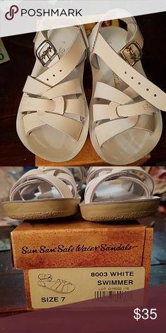 a5f52bdde2a6 Sun-San Salt Water Sandals Brand new in the original box size 7 white.