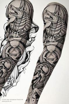 Egyptian Eye Tattoos, Egyptian Tattoo Sleeve, Wolf Tattoo Sleeve, Best Sleeve Tattoos, Sleeve Tattoos For Women, Tattoo Sleeve Designs, Arm Tattoos For Guys, Men Tattoo Sleeves, Posseidon Tattoo