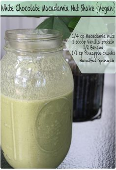 #Vegan White Chocolate Macadamia Nut Cookie Protein Shake, delicious and nutritious! Just like licking a cake bowl.