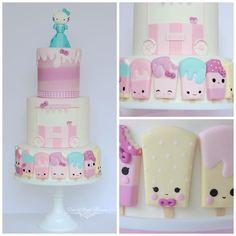 Hello Kitty popsicle cake