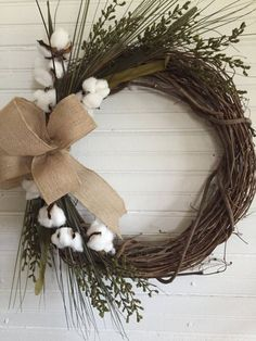 Farmhouse Cotton WreathFarmhouse DecorCotton by SugarTreeFarms