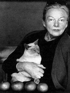 Cat with its human, American food writer MFK Fisher